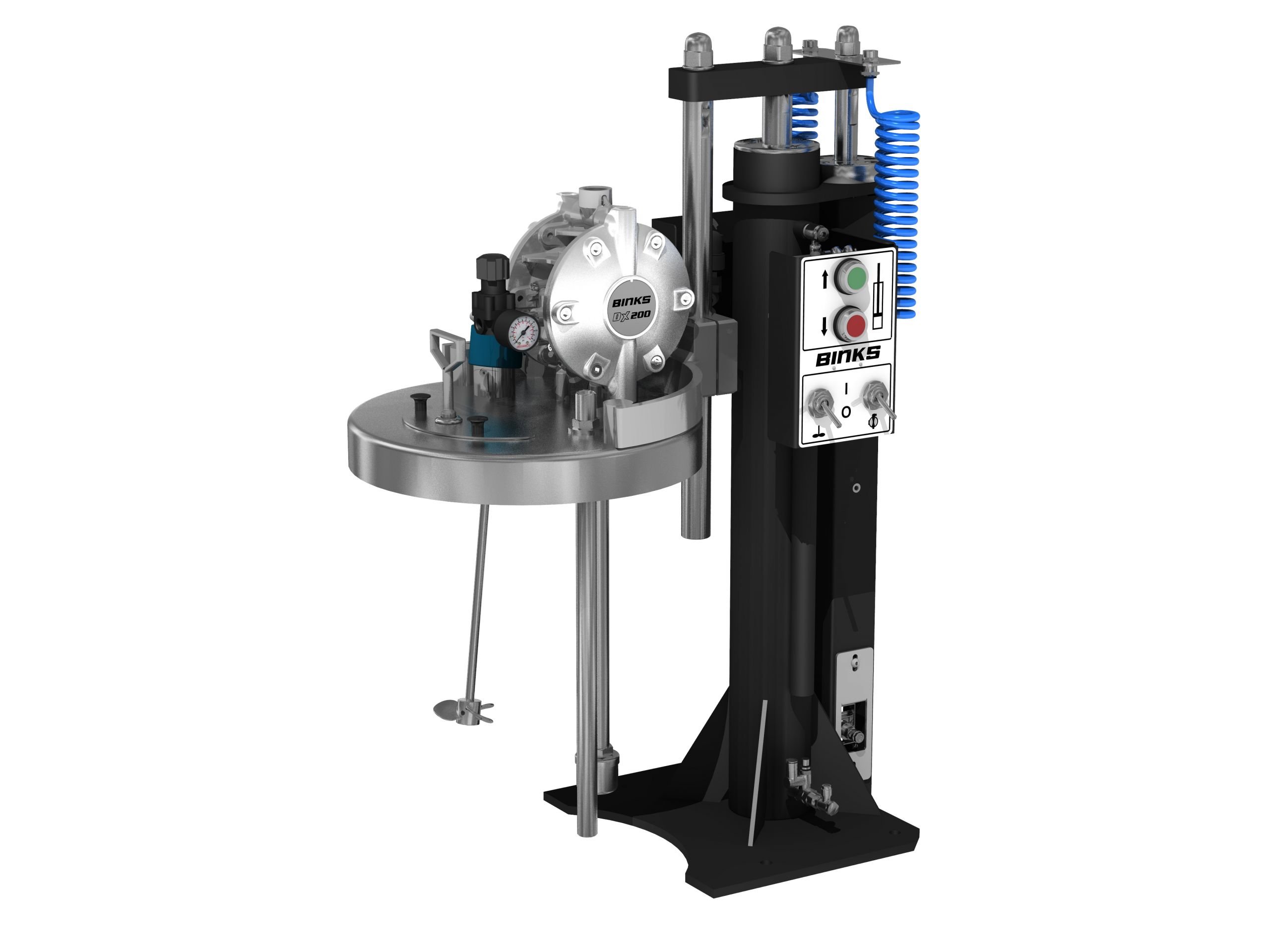 Elévateur et agitateur pneumatique avec pompe à membranes pour fût de 25L - BINKS